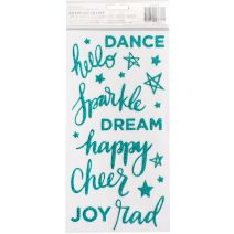 """Shimelle Glitter Girl Thickers Stickers 5.5""""X11"""" 58/Pkg-Sparkle/Phrases/Foam/Teal Glitter"""