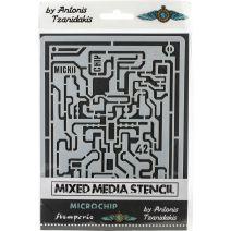 """Stamperia Stencil 5.90""""X7.87""""-Microchip"""