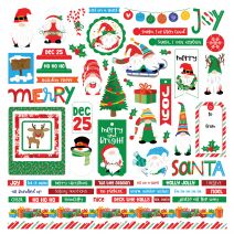 """Gnome For Christmas Stickers 12""""X12""""-Elements"""