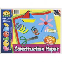 Construction Paper Pad 12 X 9 Inches Assorted Colors