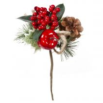Christmas Pick With Apple Burlap 7.5 Inches