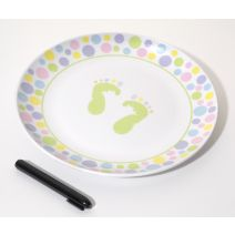 Autograph Plate With Marker Baby Feet Design Pastel