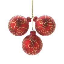Seasonal Floral Red Christmas Ornament Pick Gold Swirl 40 Millimeters 3 Tips
