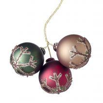 Christmas Pick Ornaments X3 Wdlnd Snow 40Mm