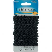 Jewelry Designer Fashion Cord Polyester Twisted Cord Black 2 Yards