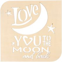 Laser Cut Wood Love You to the Moon Plaque Square 8.875 Inches