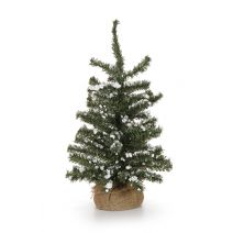 Christmas Floral Snow Glittered Tree With Burlap Base 18 Inches