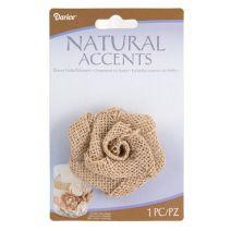 Natural Burlap Rose - 2.5 X 2.5 Inches