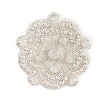 David Tutera Silver Bridal Applique Round Scallop Shape With Beading & Rhinestones