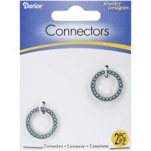 Jewelry Connectors Circle Silver and Turquoise 2cm