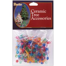 Ceramic Christmas Tree Accessories Mini Globe Pin Multi Color 0.25 Inch