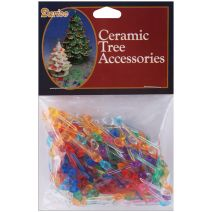 Ceramic Christmas Tree Accessories Mini Twist Pin Multi Color 0.25 Inch