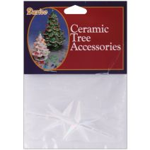 Ceramic Christmas Tree Accessories Stars 2.75 X1.875 Inches Iridescent