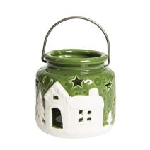 Ceramic Candle Holder Green White 3.46 In 1Pc