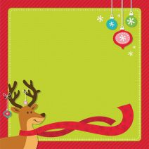 Scrapbook Paper 3D Christmas reindeer and ornaments 12 X 12 Inches